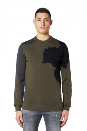 ABSTRACT CAMO KNITTED SWEATER