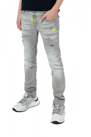 GREY DESTROYED FADED JEANS