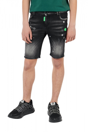 BLACK DESTROYED FADED SHORT JEANS