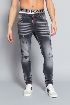 GREY FADED PINK SPOT JEANS